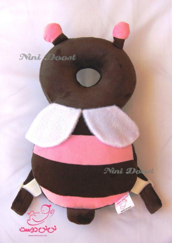 محافظ ایمنی سر کودک مدل زنبور عسل قهوه ای صورتی